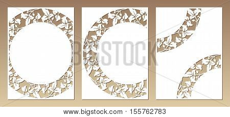 Set of three cards with openwork floral pattern. Laser cutting vector templates suitable for greeting cards envelopes invitations menus interior decorative elements.