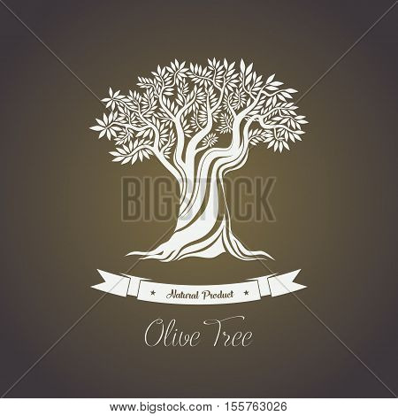 Tree with branches of olive oil berry. Natura olive fruit for making oil liquid. May be used for olive tree on shop logo, olive oil bottle sticker or label, greece tree grove badge, agriculture theme