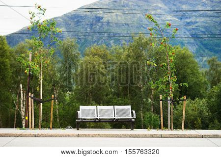 Norway city bus bench transport background hd