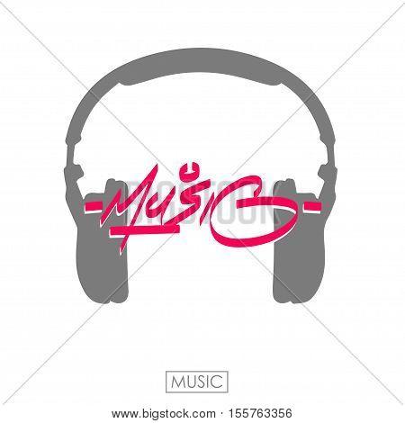 Music word. Hand drawn lettering for music fest. Ink illustration. Modern brush calligraphy music