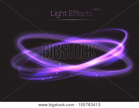 Circle or ovals light effects background. Luminosity and radiance effect made by trail or tail. Bokeh effect and light glow on transparent background. Can be used for spotlight light background