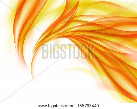 Background with abstract orange fire lines on white, fiery smoke, vector illustration