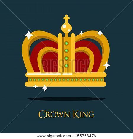 Royal king or queen crown or pope tiara icon. Princess or prince gold crown of medieval. Can be used as monarch crown icon or heraldry monarchy, authority and luxury, antique design theme