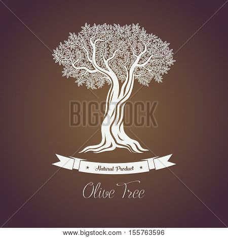 Natural olive oil tree logo for olive grove. Fruit plant with berry and branches. May be used for olive oil tree banner or olive grove logo, ancient greece tree or market badge or liquid shop emblem