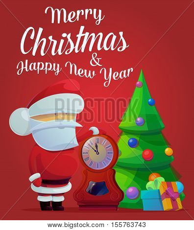 New year santa claus near fir tree with decorations and clocks showing time five minutes till midnight. May be used for santa claus banner, greeting card template, holiday and festive theme