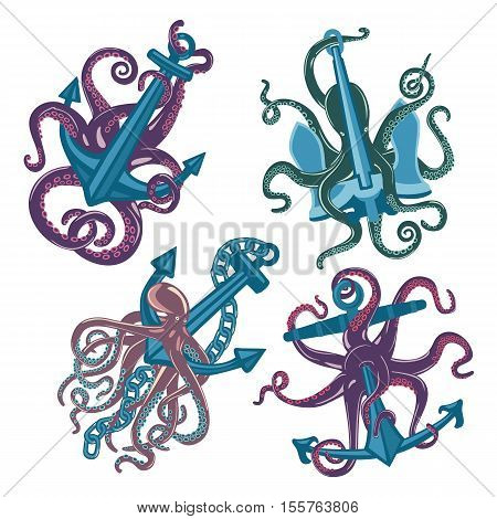 Set of cartoon blue octopus with anchors in tentacles suction cups. Sea or ocean octopus monster. May be used for marine mascot or cartoon octopus tattoo, cuttlefish poster and t-shirt print