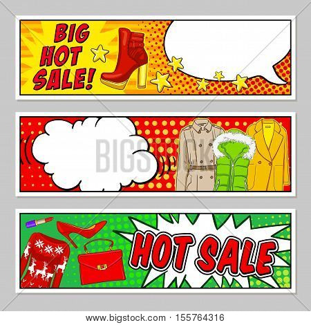 Fashion comic style banners set with hot sale letterings speech bubbles clothing and accessories isolated vector illustration