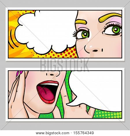Female face horizontal banners with eyes open mouth and speech bubbles on popart background isolated vector illustration