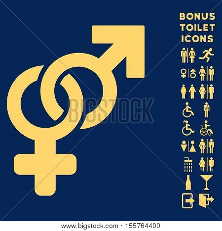Heterosexual Symbol icon and bonus gentleman and female lavatory symbols. Vector illustration style is flat iconic symbols, yellow color, blue background.