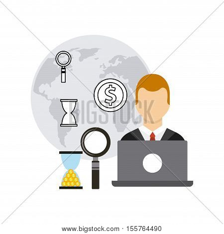 Business growth funds flat icons vector illustration design