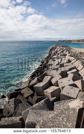 Concrete blocks in the jetty of Los Cristiano (Tenerife - Spain)