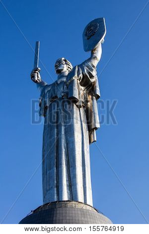KIEV, UKRAINE - JULY 05, 2016: Mother of the Motherlands, part of the Museum of The History of Ukraine in World War II. The statue was designed by Yevgeny Vuchetich and is more than 60 m. height