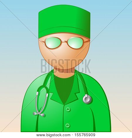 Icon of medic. A doctor in a green dress with a stethoscope. Vector illustration.