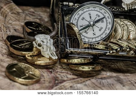 pirate treasure and world map, still life