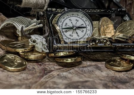 pirate treasure and world map, still life photo
