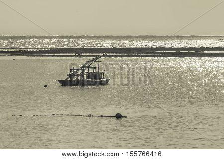 PORTO GALINHAS, BRAZIL, JANUARY - 2016 - Sailboat at sea in Porto Galinhas Pernambuco Brazil