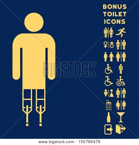 Man Crutches icon and bonus gentleman and female WC symbols. Vector illustration style is flat iconic symbols, yellow color, blue background.