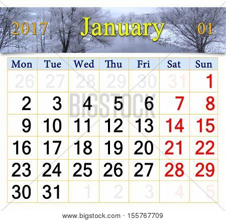 beautiful calendar for January 2017 with winter river