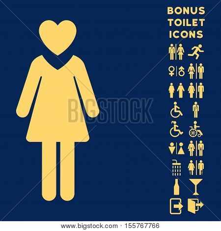 Mistress icon and bonus gentleman and woman toilet symbols. Vector illustration style is flat iconic symbols, yellow color, blue background.