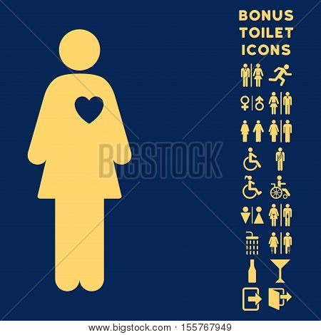 Mistress icon and bonus man and woman toilet symbols. Vector illustration style is flat iconic symbols, yellow color, blue background.