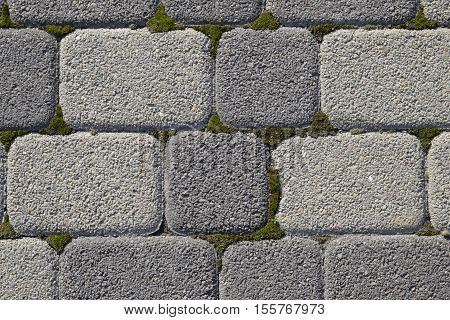 Industrial Building Background Of Paving Slabs With Overgrown With Moss In The Cracks. Texturing Bac