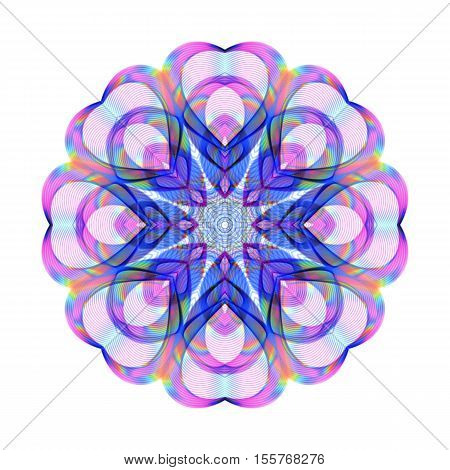 Colored Bright Iridescent Decoration for Valentine's Day on White Background. Universal Rainbow Abstraction with Holographic Effect.