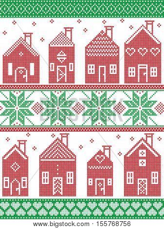 Scandinavian style and Nordic culture inspired Christmas seamless winter pattern including Swedish style houses, decorative ornaments, snow, snowflakes  in cross stitch style in  red , white, green