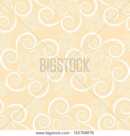 Floral seamless beige pattern with swirl flowers