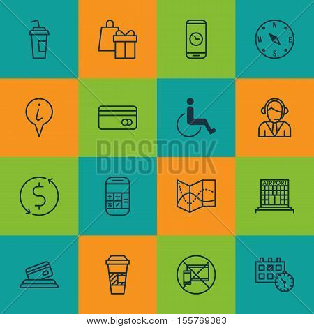 Set Of Travel Icons On Drink Cup, Accessibility And Calculation Topics. Editable Vector Illustration