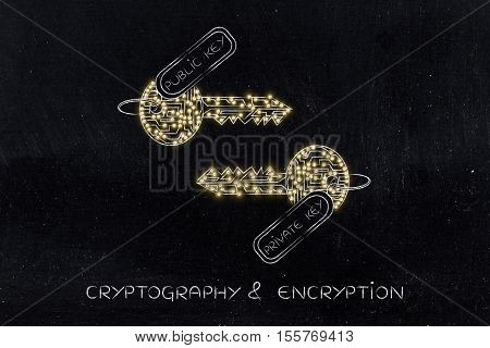 Private & Public Keys Made Of Circuits With Leds, Encryption Concept