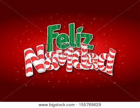 FELIZ NAVIDAD -Merry Christmas in Spanish language- Red cover of greeting card with stars in background. Layout size: 15 cm x 11 cm. Lettering design.