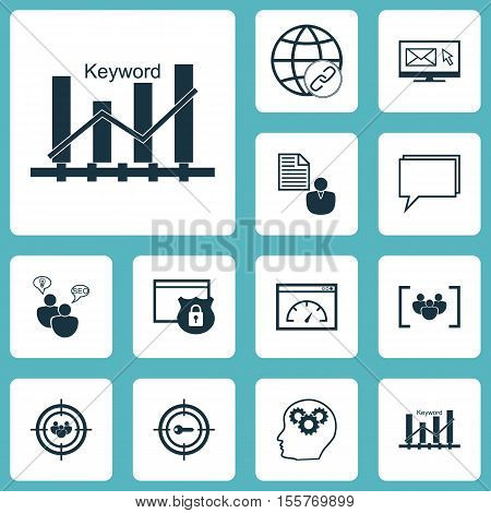Set Of Advertising Icons On Connectivity, Keyword Marketing And Seo Brainstorm Topics. Editable Vect