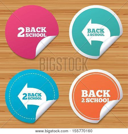 Round stickers or website banners. Back to school icons. Studies after the holidays signs symbols. Circle badges with bended corner. Vector