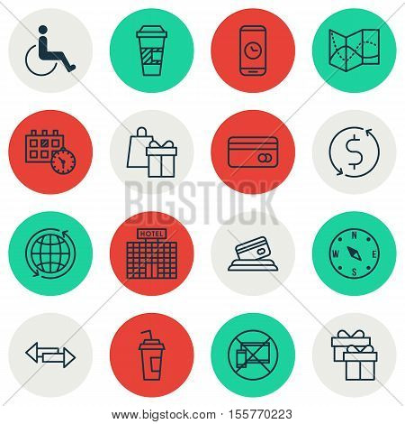 Set Of Traveling Icons On Money Trasnfer, Takeaway Coffee And Forbidden Mobile Topics. Editable Vect