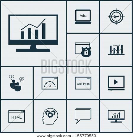 Set Of Seo Icons On Conference, Keyword Marketing And Security Topics. Editable Vector Illustration.