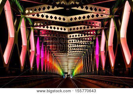 9. october 2016 - Bratislava Slovakia: Old bridge ceremoniously lightened as rainbow during