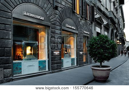 FLORENCE ITALY - JUly 02: Tifanny & Co store in Florence one of the most luxurious shopping district in the world in Florence italy 02 july 2016