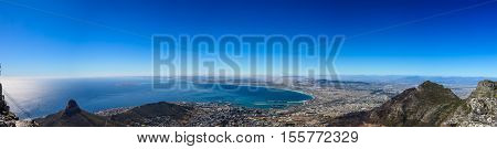Panoramic view from the top of Table Mountain Cape Town South Africa