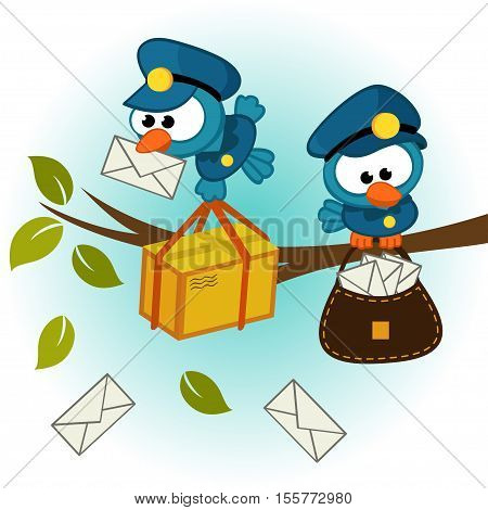 birds as postman - vector illustration, eps