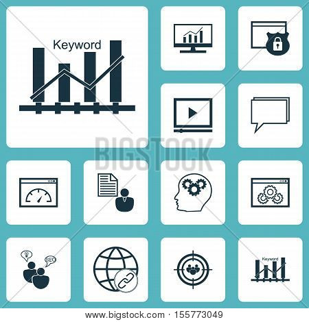 Set Of Advertising Icons On Market Research, Loading Speed And Keyword Optimisation Topics. Editable