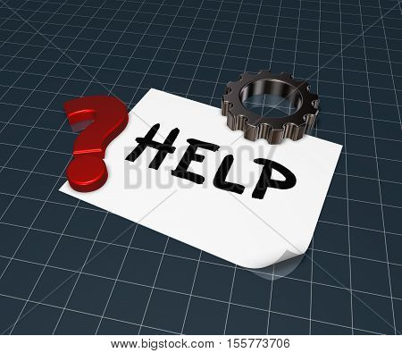 the word help on paper sheet gear wheel and question mark - 3d rendering