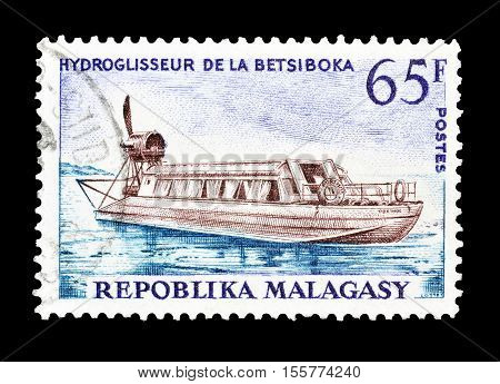 MADAGASCAR-CIRCA 1966 : Cancelled postage stamp printed by Madagascar, that shows Hydrofoil.