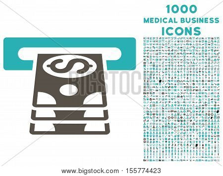 Bank Cashpoint vector bicolor icon with 1000 medical business icons. Set style is flat pictograms, grey and cyan colors, white background.