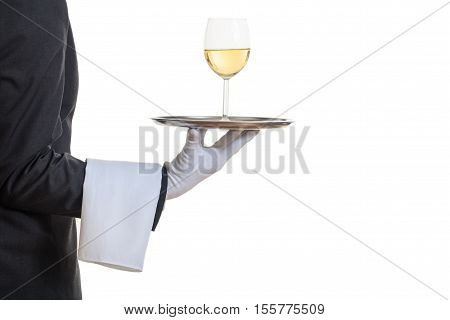 Waiter offering wine on a tray on white background