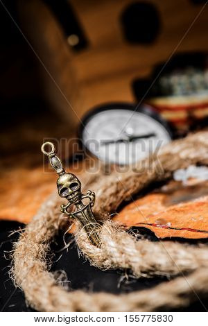 Pirate and world map Columbus day, still life photo