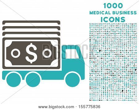 Cash Lorry vector bicolor icon with 1000 medical business icons. Set style is flat pictograms, grey and cyan colors, white background.