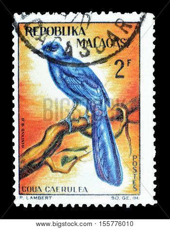 MADAGASCAR-CIRCA 1963 : Cancelled postage stamp printed by Madagascar, that shows Blue Coua.
