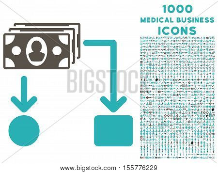 Cashflow vector bicolor icon with 1000 medical business icons. Set style is flat pictograms, grey and cyan colors, white background.