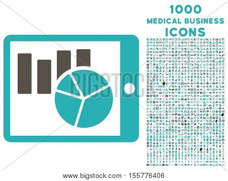 Charts on Pda vector bicolor icon with 1000 medical business icons. Set style is flat pictograms, grey and cyan colors, white background.