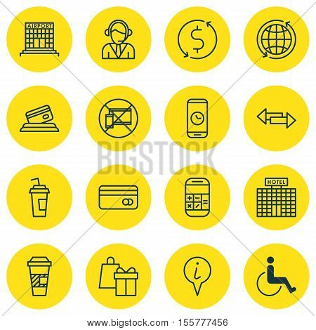 Set Of Airport Icons On Call Duration, Credit Card And Accessibility Topics. Editable Vector Illustr